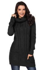 Sort Cowl Neck Cable Strik Sweater Dress