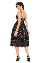 Lace Black Lace Hollow Out Nud Illusion Partidul Dress