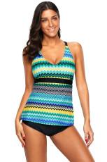 Blue Holiday Wave Tankini 2pcs Baju Renang