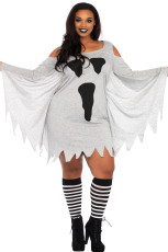Halloween Ghost Print Jersey Plus Size Dress