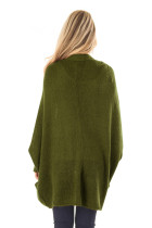 Army Green Dolman Sleeve Knit Cardigan med lomme