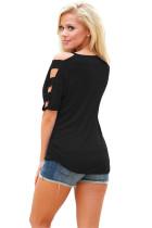 Musta kylmä olkapää Ruched Sides T-paita