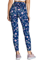 High Waist Floral Print Kompression Kvinnor Leggings