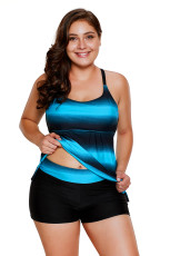Bluish Strappy Hollow-out Back Plus Størrelse Tankini