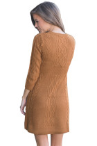 Brun Cable Knit Fitted 3 / 4 Sleeve Sweater Dress