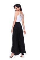 Svart Piped Button Utsmyckad High Waist Maxi Skirt