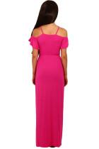 Růžové studené rameno dlouhé dresové šaty