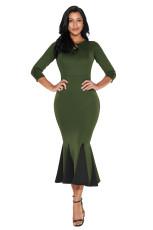 Оливковое майловое фетровое платье