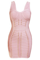 Gaun perban Midi berwarna pink