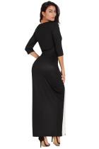 Μαύρο άσπρο χρώμα μπλοκ πλευρική σχισμένη Maxi φόρεμα