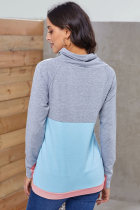 Camisola Sleeved do Thumbhole azul cinzento de Colorblock