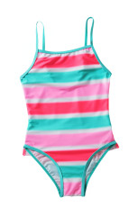 Neon Flerfarget Stripet Ruffle Trim Girls 'Teddy Badedrakt