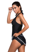 Kontras White Trim Black Halter Tankini Skort Swimsuit