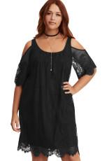 Siyah Plus Size Dantel Soğuk Omuz Trapez Elbise