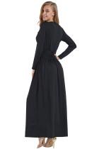 Черный Vintage Вдохновленный V-образным вырезом с длинным рукавом Maxi Dress