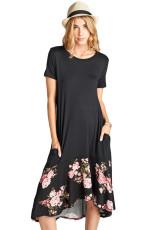 Černá Hi-nízká květinová volánka Hem Midi šaty