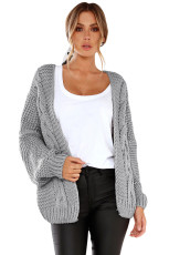 Grå Chunky Wide Long Sleeve Knit Cardigan