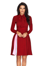 Patchwork Tie Neck rochie cu mânecă lungă burgundă