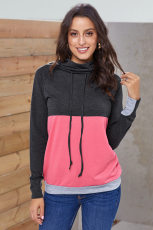 Charcoal Pink Colorblock Thumbhole Sleeved Sweatshirt