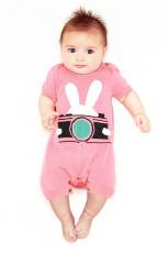 Merah Muda Kelinci Fotografi Bayi T-shirt Onesies