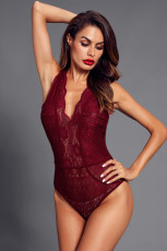 Red V Neck rỗng ra ren Bodysuit