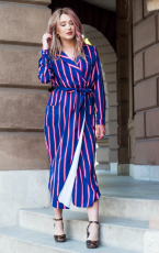 Navy Blue Multi Striped košile šaty s Tie