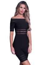 Black Mesh Stripes Sett inn skulder bandasje kjole