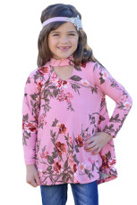 Pink Floral Key Hole Přední dívka s dlouhým rukávem