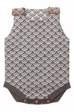 Gray Fish Scale Knit abotoado bebê Romper