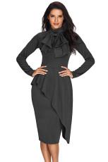 Grå Asymmetrisk Peplum Style Pussy Bow Dress