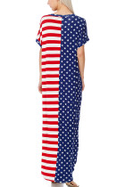 Stars and Stripes V-Neck Pocket Maxi Dress