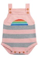 Pink Rainbow Pattern Knit Baby Onesies