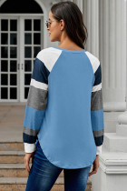 Barevný blok s dlouhým rukávem Modrý pulóver Top