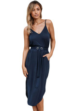 Blauwe spaghettibandjes halterstaart midi-jurk