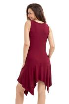 Burgundské draped asymetrické hemline bez rukávů Jersey šaty