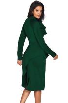 Jade Green Asymmetrisk Peplum Style Pussy Bow Dress
