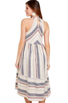 Valkoinen Striped Bohemian Fashion Midi-mekko