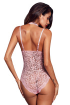Розовый Sheer Lace Choker Neck Teddy Lingerie