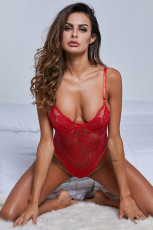 Red Yummy Scalloped Lace Teddy Lingerie