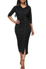 Black Button Up Front Slit Sheath Midi Dress