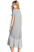 Šedý Hi-Low Pruhované volánky Hem Midi šaty