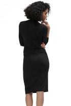 أسود طويل الأكمام مطوي التفاف ميدي اللباس