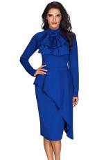 Royal Blue Asymmetrisk Peplum Style Pussy Bow Dress