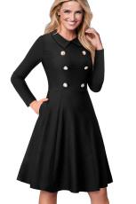 Черное Двойное Брестящее Урожайное Раздутое Платье