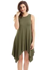 Army Green Draped Asymetric Hemline bez rukávů Jersey šaty