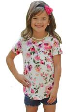 Λευκό ροζ Floral Print κορίτσια κοντό μανίκι T-shirt