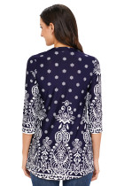 Navy Blue Floral Notch Neck Pin-tuck Tunika