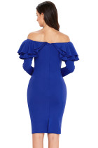 Royal Blue Ruffle fora do ombro manga comprida Bodycon Dress