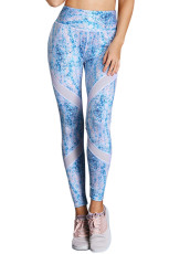 Blue Scrawl Print Women High Waist Sportowe legginsy