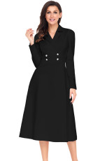 Svart Vintage Button Collared Fit-and-Flare Dress